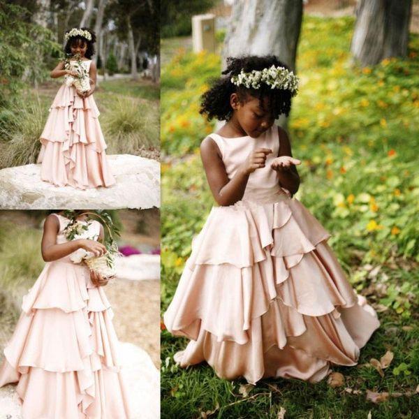 2019 New Pretty Blush Pink Flower Girl Dresses for Weddings Country Style Kids Tutu First Communion Wedding Dress