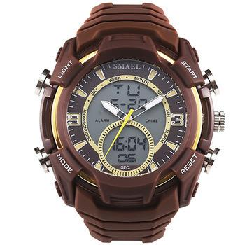 Smael 1349 New Watches Men Digital Casual Electronic Shockproof Auto Date Cool Male Silicone Dual Display Watch
