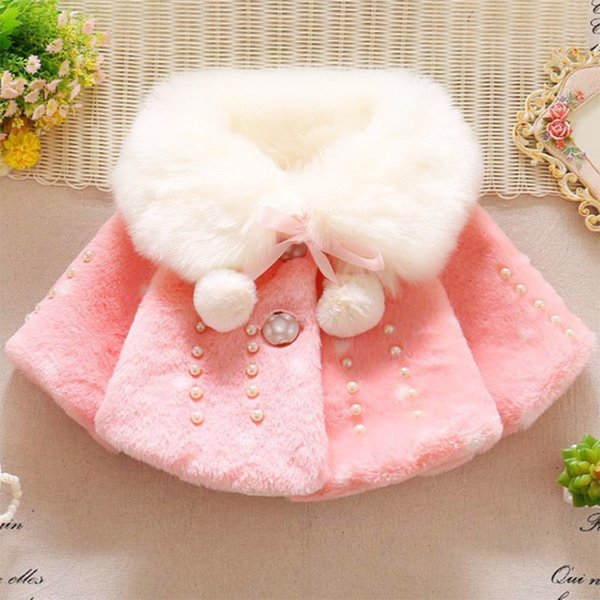 Winter warm thick velvet hooded solid jacket for baby girls coat princess red pink white jackets for baby girls outwear 2018