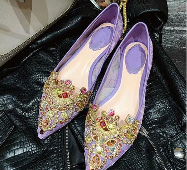 Vendita calda designer di marca fornitore edizione originale personalizzato Moda casual temperamento elegante gemma di seta match strass scarpe singole piatte