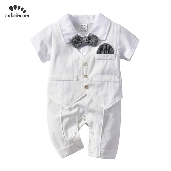 Baby Boy Rompers White Gentleman Tie Suits Newborn Romper Vest Cotton Jumpsuit Infant Kids Birthday Wedding Party Clothes 2019 J190523