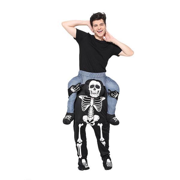 Esqueleto de Halloween tema del traje libre del tamaño unisex divertido de la fiesta de la etapa traje de la manera Ropa para hombre