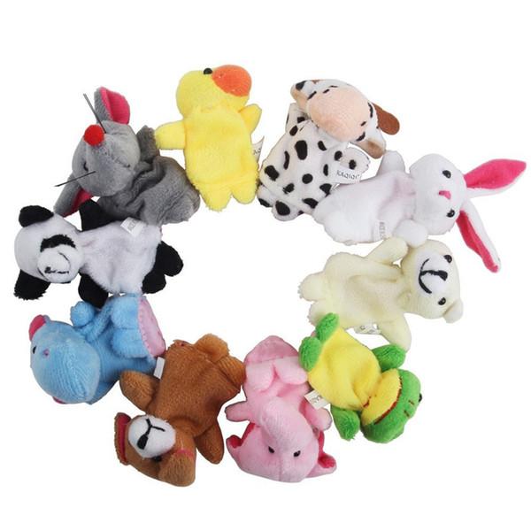 Bebek Çocuk Parmak Hayvan Eğitim Hikayesi Oyuncaklar Kuklalar Bez Peluş 10 Adet bir Paket Yumuşak El Yapımı Peluş Hayvan Parmak Kuklaları