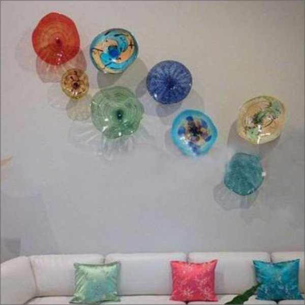 Modern Art Deco Mouth Blown Glass wall plates Customized Colored Handmade Blown Glass wall lamps for Living Room Decor
