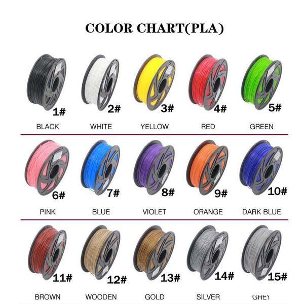 Vente chaude PLA Filament 30 couleurs différentes 5M / Couleur tout 3D Stylo Filament 3D Imprimante SGS Approbation Matériel Pour Stylo D'impression 3D C12