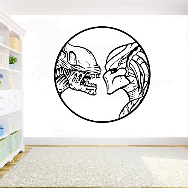 Alien Vs Predator Movie Poster Wall Decals Home Decor Wall Art Murals Removable Vinyl Stickers Room Decoration Accessories Deco Stickers For Walls