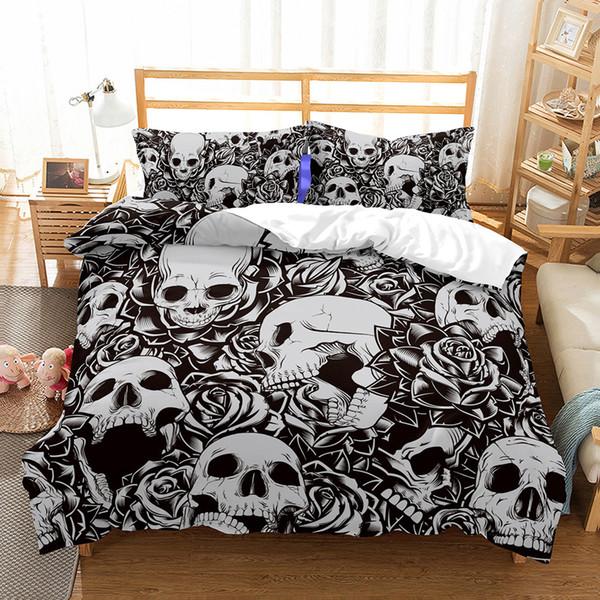 US AU Size 3pcs Juego de sábanas de lujo Edredón Marilyn Monroe Juego de sábanas de calavera Rey Tamaños Mariposa Juego de sábanas de edredón Suministros de ropa de cama