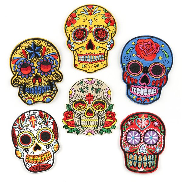 Flower Skulls Embroidery Patches Floral Skull Hippie Fabric Sew Iron On Applique Repair DIY Badge Patch For Kids Clothes Jacket Bag Garment