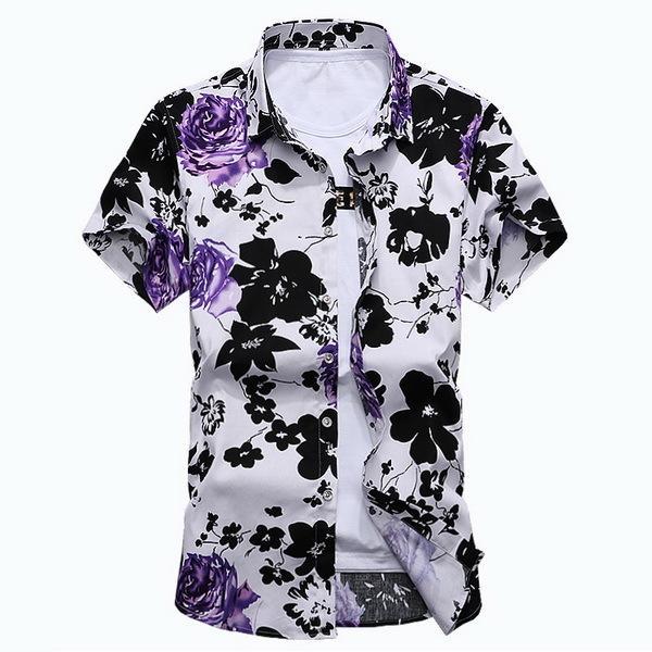 Men Red Floral Shirt Short Sleeve Fashion Summer Mens Hawaiian Shirts Cotton Big Sizes M-7XL DT515
