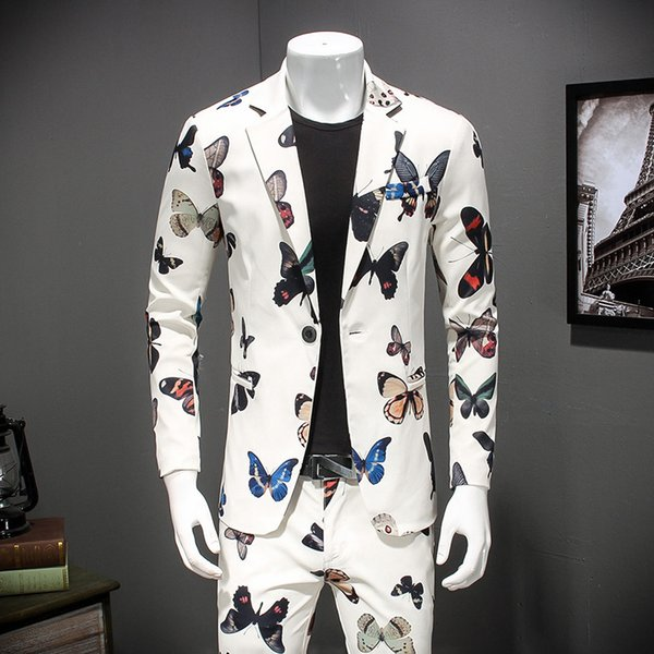Hombres Flroal Blazer 2018 Nueva Moda Fancy Slim Fit Blazer Masculino Hombres Elegante Fiesta de graduación para hombres Tallas grandes 4xl