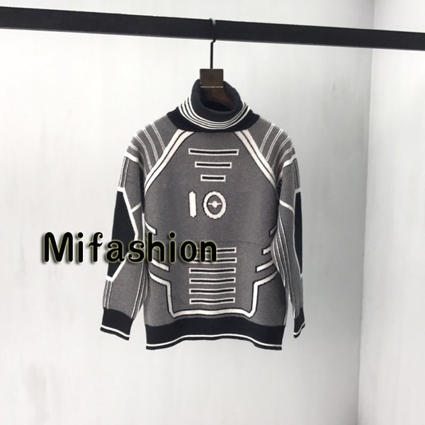 19FW Luxury Autumn Winter Hoodie Europe Paris Sorayama Turtle Neck Sweater Fashion Men Clothes O-neck Pullover Sweatshirt Women Sweaters