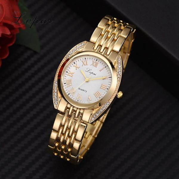 Lvpai marca de fábrica caliente del reloj de las mujeres del oro de la vendimia del reloj de lujo de las mujeres reloj de la pulsera de lujo del Rhinestone del acero inoxidable reloj