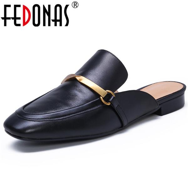 FEDONAS Primavera Verano Marca Diseño Cuadrado Toe Shallow Low Heels Slingbacks Slip on Mules Sandalias Básicas de Fiesta Zapatos Casuales Mujer