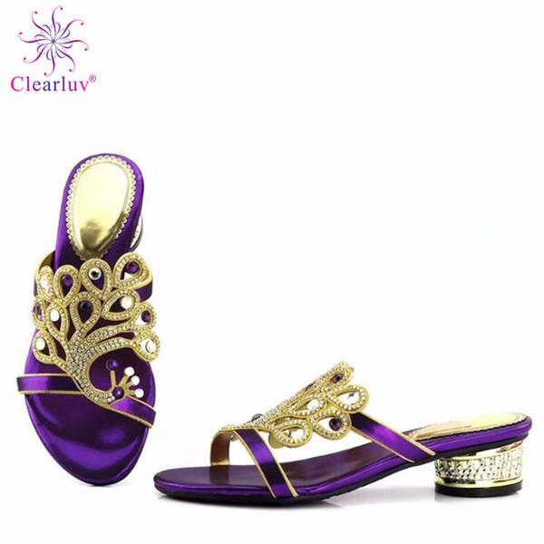 Casamento Roxo Cristal Buckle Strap 2019 Bombas de Alta Qualidade Mulheres Sapatos Confortáveis de Alta Bombas Com Rhinestone Sapatos Nigerianos
