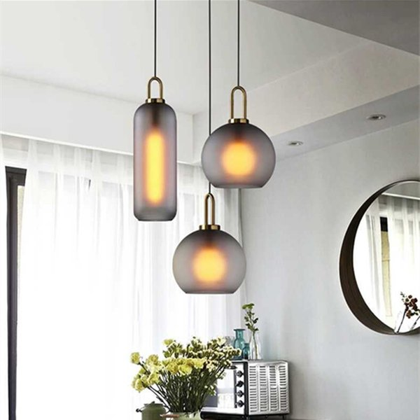 Nordic Simple Glass Ball Pendant Light Clear Smoke Gray Modern Designer Restaurant Bedroom Bedside Pendant Lamp Hanging Ceiling Light Pendant Lighting