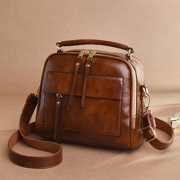 Sac à main en cuir de mode de luxe Sac à bandoulière grande capacité solide couleur Mesdames sac à main Ladies Messenger Bag