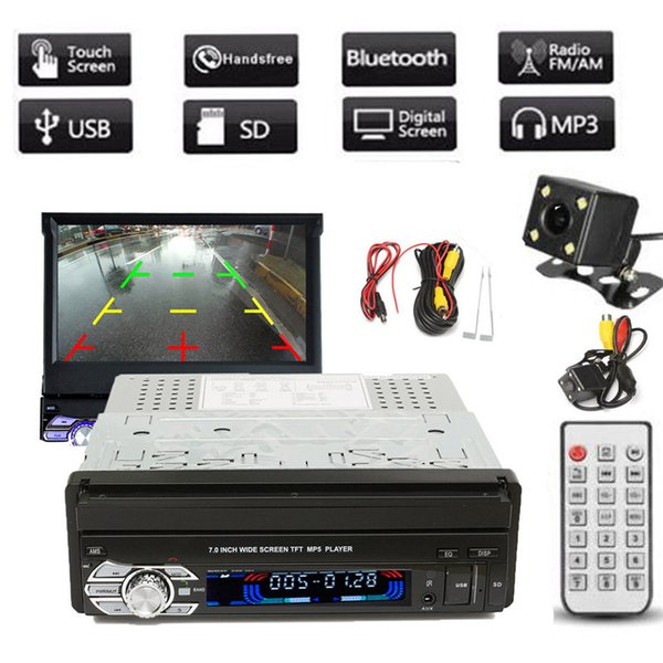 Freeshipping Universal 1DIN 7 Inch HD Touch Screen Car Stereo MP3/MP5 FM Bluetooth Player With Rear View Camera And Cable