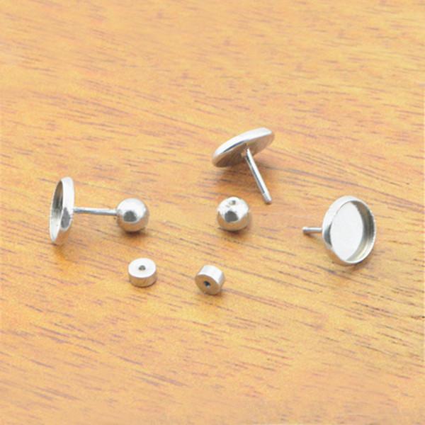 Boucles d'oreilles en acier inoxydable Post Screwback Stoppers Bases Plateau lunette ronde 8mm 10mm Cabochons Oreilles Pins Goujons Boucles d'oreille Conclusions DIY