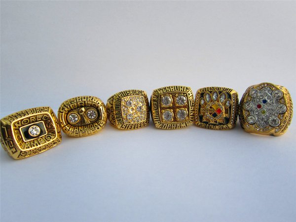 6pcs Steeler ring set no wooden box