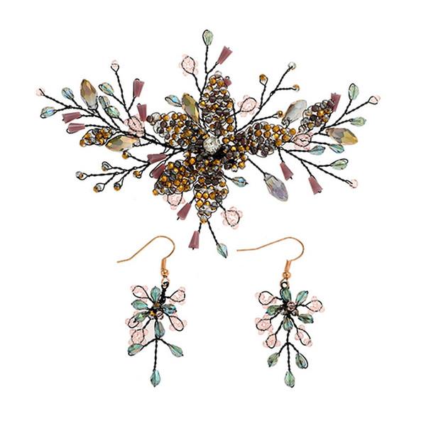 Vintage Crystal Rhinestone Bride Hairpins Hair Pins Drop Earrings Set Wedding Hair Accessories Bridal Headpiece Jewelry Set SL
