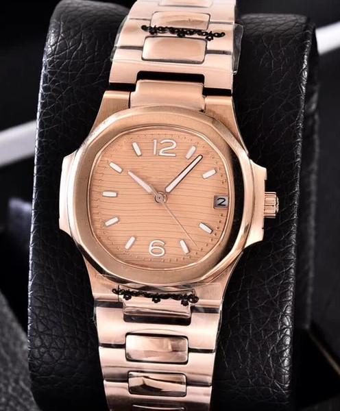 3 color Nautilus 18 k oro rosa automático movimiento fecha reloj 7010R-011 35 mm damas mujeres moda relojes