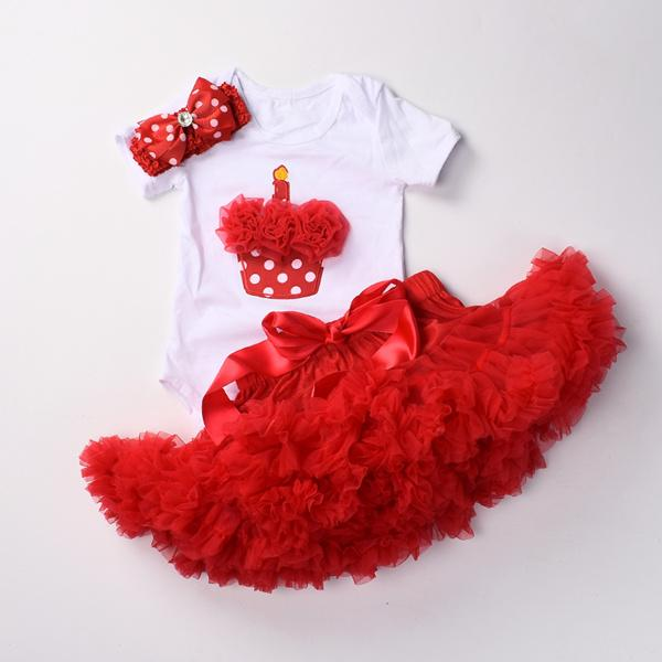 Baby girls 1st birthday clothes set 3 pcs Infant first Birthday outfits Bodysuit top tutu pettiskirt sets with headband