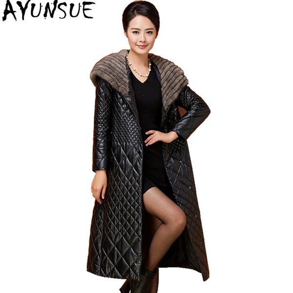 AYUNSUE 2018 Genuine Leather Jacket Long Slim Real Sheepskin Coat for Women Collar Hooded Warm Winter Coats Blet YQ1858