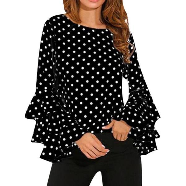Yaz 2019 Kadın Bluzlar Blusa Vintage Petal Kollu Şifon Bluz Gömlek Ofis Puantiyeli Kadın Gömlek O boyun Ruffles Artı boyutu