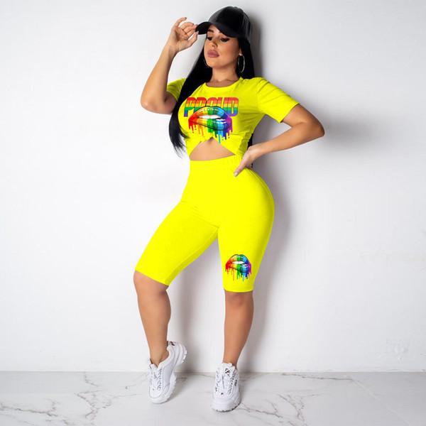 Le donne colorano stampato 2pcs adatta estate girocollo abbigliamento estate casual sexy lunghezza ginocchio tute
