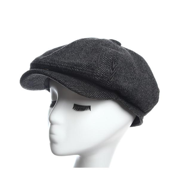 Newsboy Caps Herringbone Tweed Warm Winter Octagonal Hat Male Female Gatsby Retro Flat Caps Hats for women