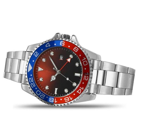 Schwarz Luxus GMT Auto Datum Uhren Marke Edelstahl Master 44mm Herrenuhr Neue Marke männer sport quarzuhr Relogio Herrenuhren 007
