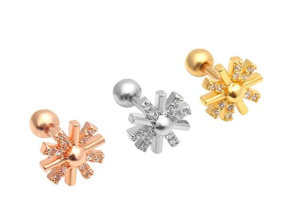 Lot 10pcs Body Jewelry- Shine CZ Gems Ear Studs/Earring Stainless Steel Helix Bar Upper Earring Cartilage Body Piercing Flowers