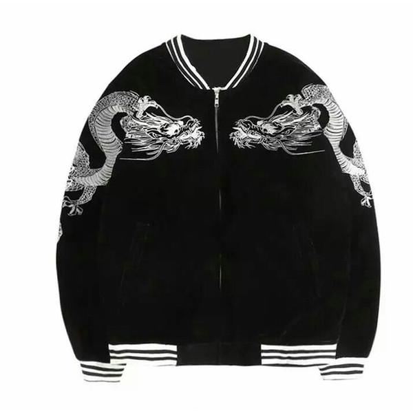 lack Chinese z jacket Japanese Harajuku Embroidery Bomber Jacket Women/Men 2018 Padding coats Tracksuit