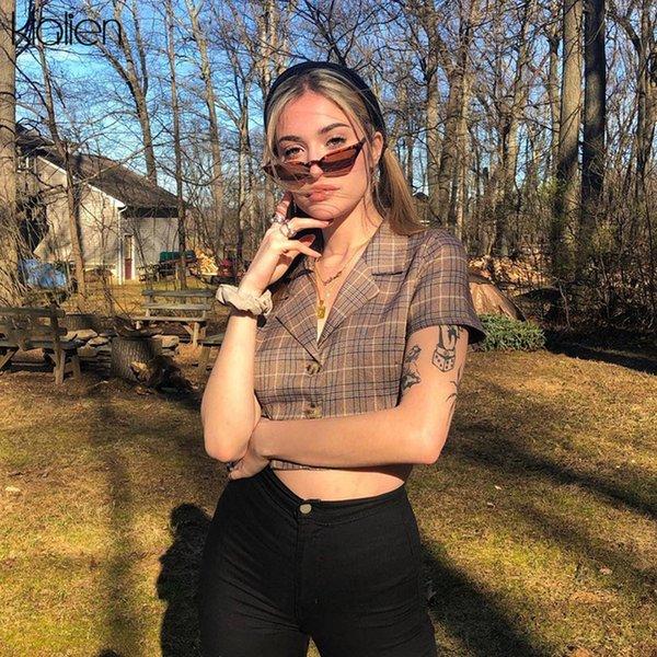 Kadınlar Kadınlar Bluz Klalien Düğme Ekose Lady Bluz Pop Giysileri 2020 Yeni Yaz Kadın Seksi Streetwear Kısa Kollu High Street