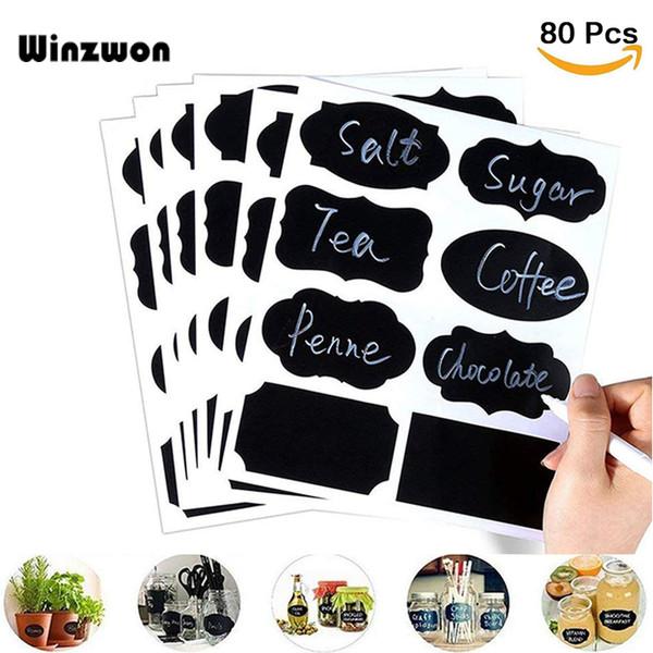 80Pcs/lot Reusable Waterproof Glass Bottle Jar Stickers Chalkboard Labels Blackboard Stickers Home Kitchen Storage Classify