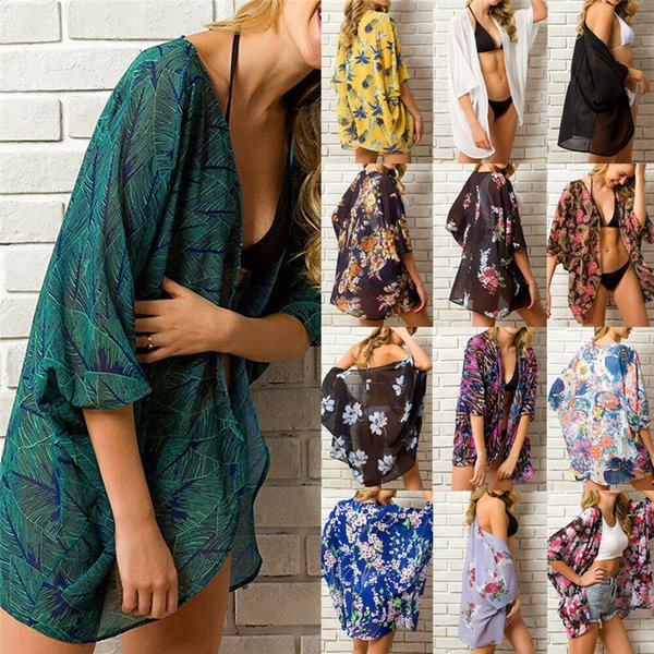 Summer Women Flower Fruit Print Bikini Cover Up Kimono Cardigan Chiffon Bathing Tops Short Beach Dress Holiday Swimwear
