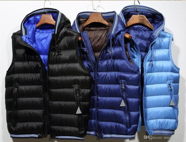 Uomini di marca francese Warmer giacca a vento gilet invernale con cappuccio giubbotto caldo Plus Size di alta qualità Man Down gilet