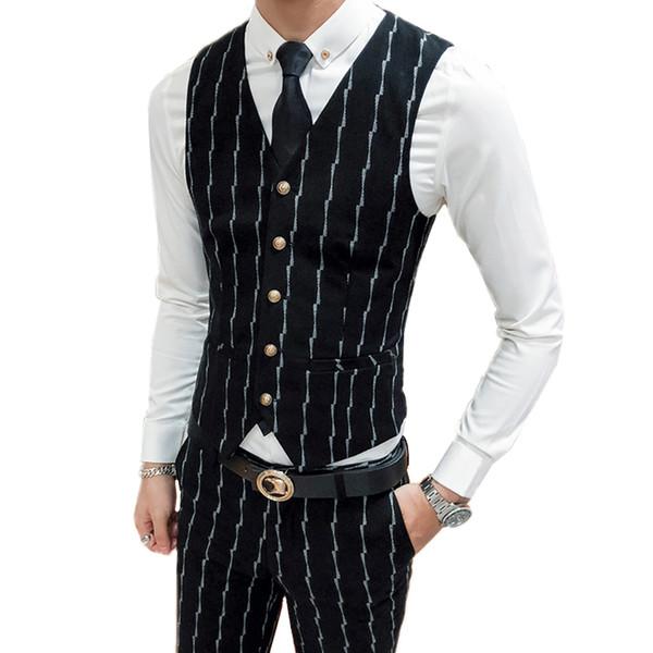 Gilet a righe autunno autunno uomo + pantaloni Asia taglia S M L XL XXL XXXL gilet uomo in cotone di alta qualità