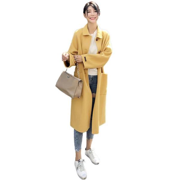 Women's Wool Jacket Coats 2019 Fashion Casual Slim Thicken Warm Long Woolen Coats Spring Autumn Wool Blend Ladies Outerwear V742
