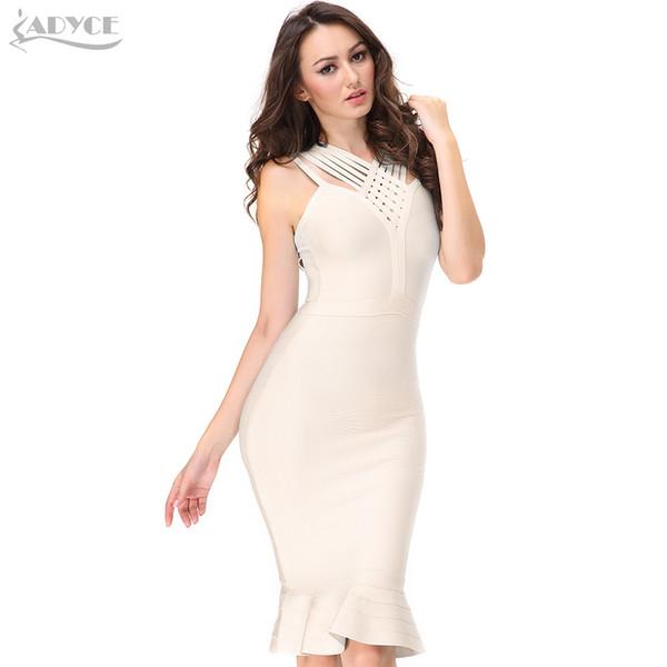 Adyce 2019 New Women Summer Bandage Dress Sexy V Neck Nude Blue Spaghetti Strap Club Dress Celebrity Evening Runway Party Dress Y19051001