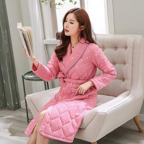 J&Q pink bathrobe women home wear pajamas batas de mujer lingerie plus size dressing gown robe warm home clothes cute sleepwear
