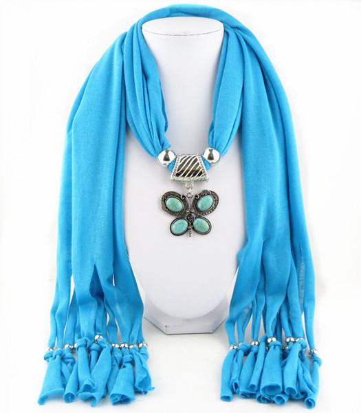 Moda Bohemian Cotton Nappa gioiello Sciarpa Collane Vintage Statement Sintetico Stone Butterfly Pendant Sciarpe donna