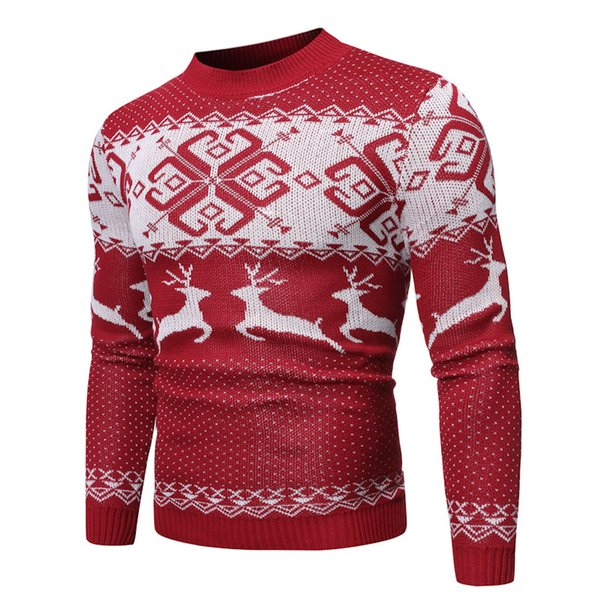 Mens Designer Christmas Color Sweater College Style Fashion Trend Youth Fit Warm Clothing Chinese Style High Quality Sweater 2020 Winter New