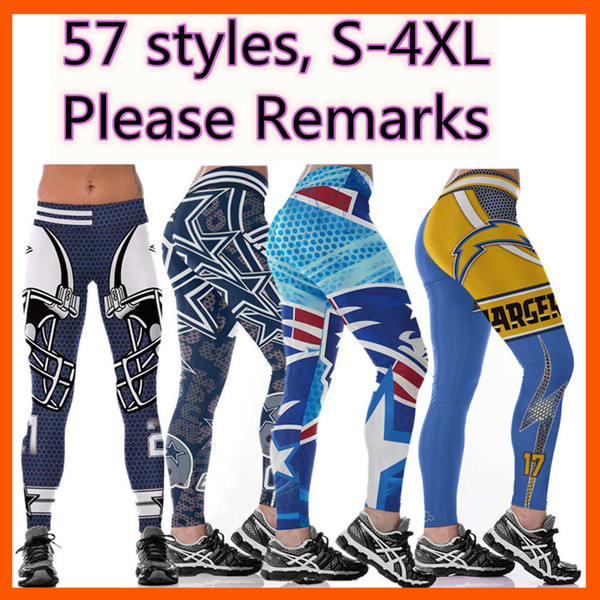 top popular wholesale Hot Womens football Rugby team Yoga Pants High Waist Stretchy Jogging Gym Tights Fitness 3D Digital Print Slim Workout Leggings 2020