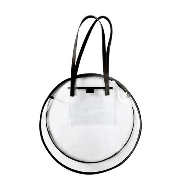 Transparent Plastic Handbags For Girls Summer Beach Round Clear Bag Large Women Shoulder Bag Waterproof Shopping Bags