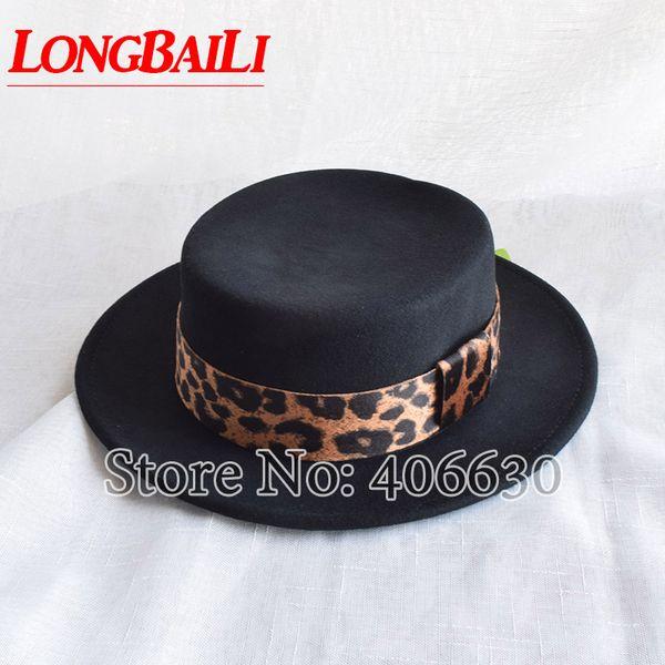 0f09ef64a 2019 LongBaiLi Fashion Leopard Band Black Wool Felt Flat Top Hats For Women  Wide Brim Chapeu Fedora BMDW012 From Tonic, $32.55 | DHgate.Com