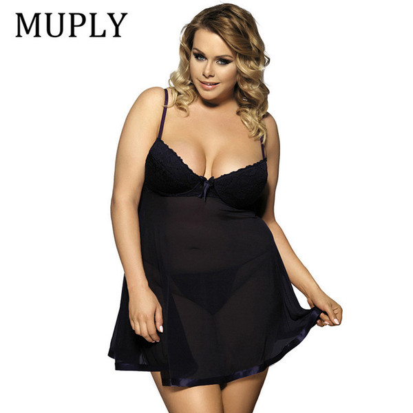 Muply Plus Size Sex Lingerie V Neck Sleepwear Babydoll Porno Underwear Lingerie Sexy Erotic Hot Dress Intimate Goods Sex Costume Y19070302