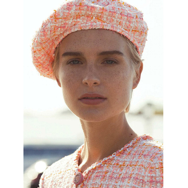 Sombrero de algodón de lentejuelas de mujer de la boina de 2019 nuevas mujeres casual