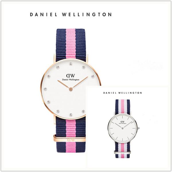 Moda de cuero para hombre para mujer Daniel Wellington 34mm Hombres oro blanco nylon relojes Mujeres Relojes Reloj de cuarzo de lujo DW Relogio Montre