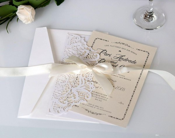 White Foled Flower Laser Cut Folded Invitation for Wedding Invitations Birthday Engagement Greeting Invitations Cards EnvelopesFree Printed